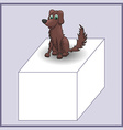 Cartoon dog on advertizing banner of cube vector