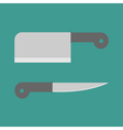 Big steel kitchen knife set flat design style vector