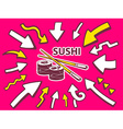 Arrows point to icon of sushi on pink bac vector