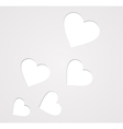 Paper hearts on grey vector