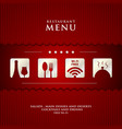 Paper restaurant menu design on red background vector