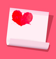 Red heart on paper sheet on pink background vector