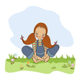 Romantic girl sitting barefoot in the grass vector