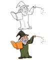 Simple and coloured sketches of a wizard vector