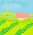Landscape - farm and fields vector
