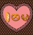 Bake goods in i love you shape vector
