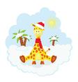 Christmas kid giraffe vector