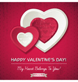 Red background with two valentine hearts vector