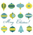 Set of vintage christmas tree balls vector