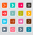 Arrows set on colorful square papers isolated on vector