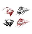 Stylized speeding train or subway icons vector