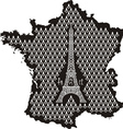 Contour of france with eiffel tower vector