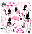 Fairytale set - silhouettes of princess girls vector
