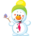 Little snowman with bird isolated on white vector