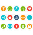 Fitness round buttons icons set vector