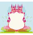Beautiful fairytale pink castle frame vector