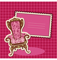 Pink armchair and picture on checked background vector