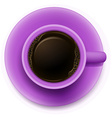 A topview of a purple cup with coffee vector
