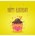 Happy birthday card background with cupcake vector