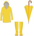 Yellow raincoat rubber boots umbrella vector