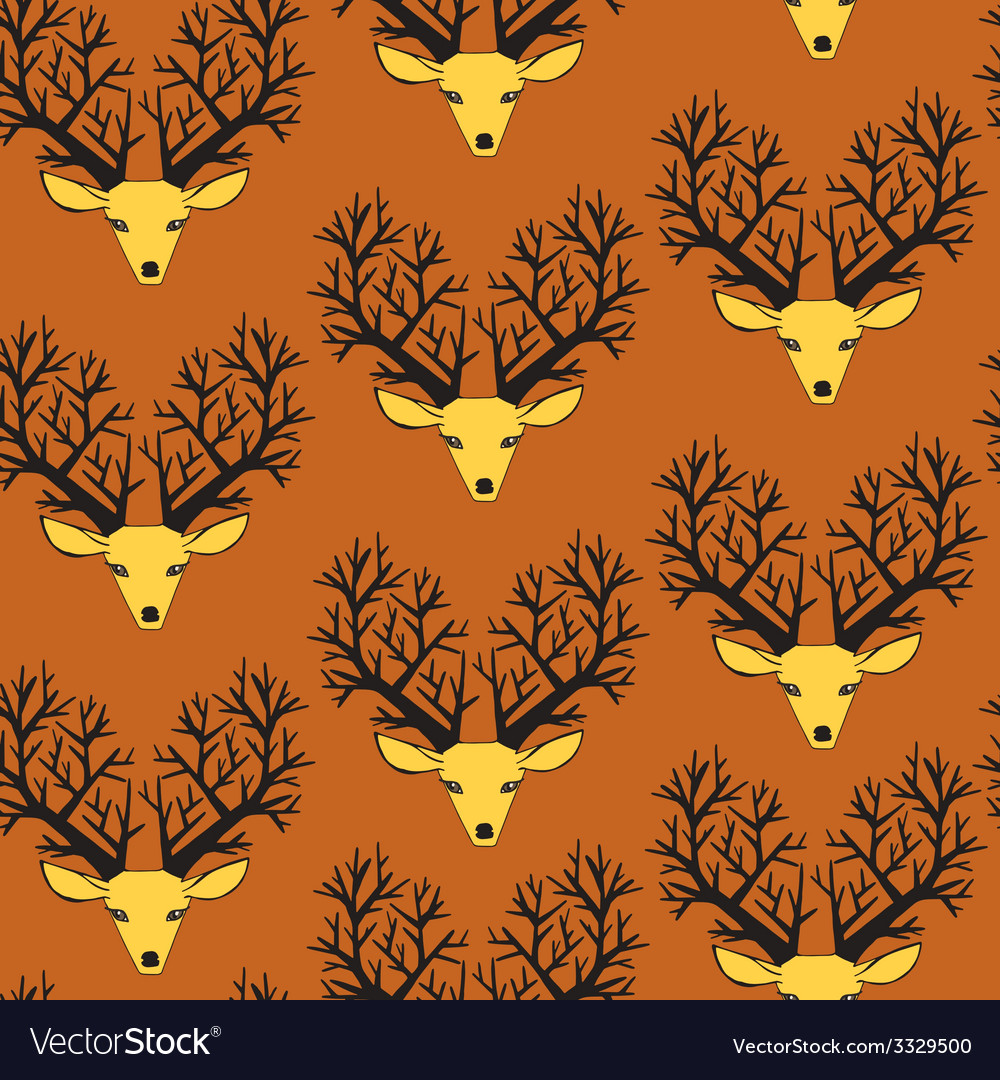 Cute seamless pattern with deers vector   Price: 1 Credit (USD $1)