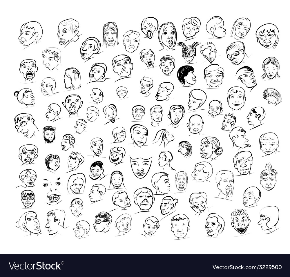 Drawing of face with many emotion vector | Price: 1 Credit (USD $1)