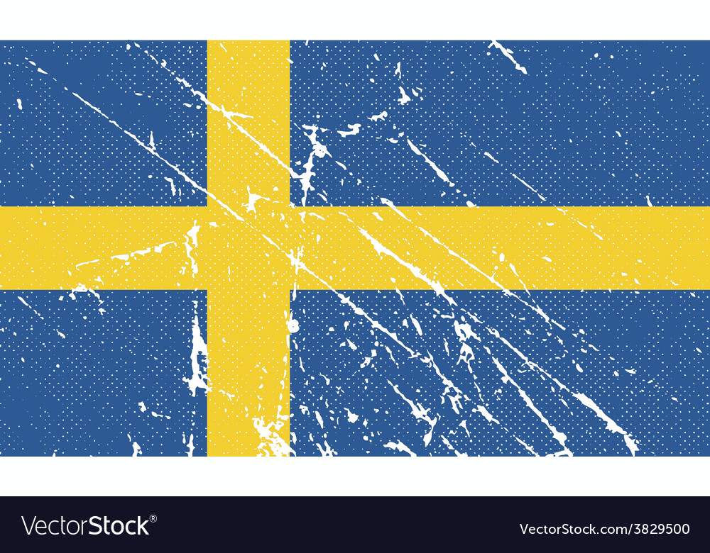 Flag of sweden with old texture vector | Price: 1 Credit (USD $1)