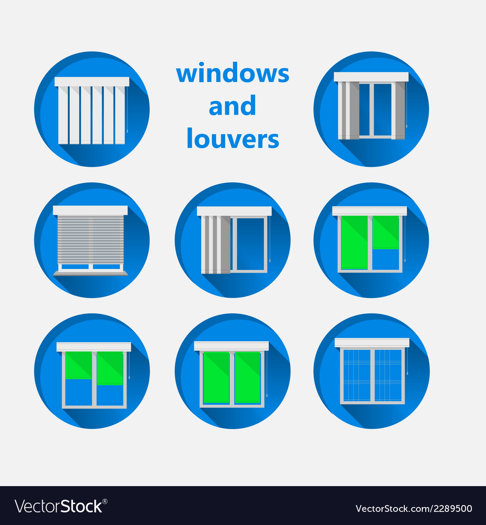 Flat icons for windows and louvers vector | Price: 1 Credit (USD $1)