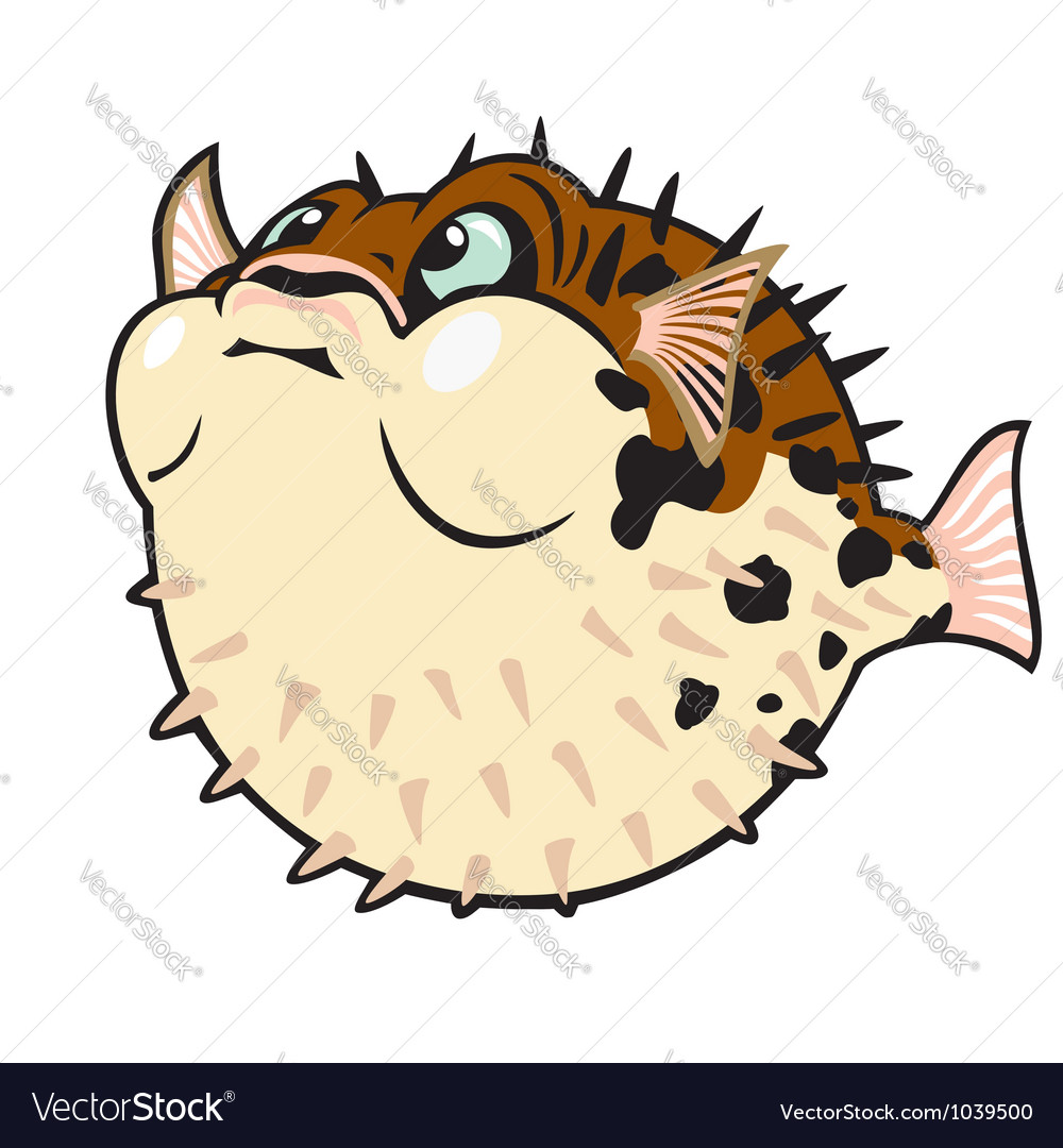 Puffer fish cartoon vector | Price: 1 Credit (USD $1)