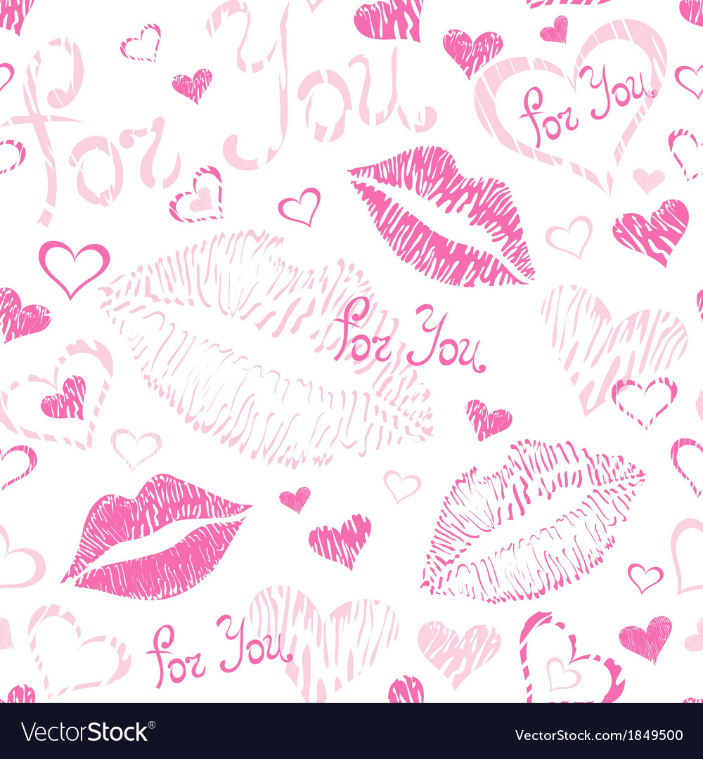 Seamless pattern with lipstick kisses vector | Price: 1 Credit (USD $1)