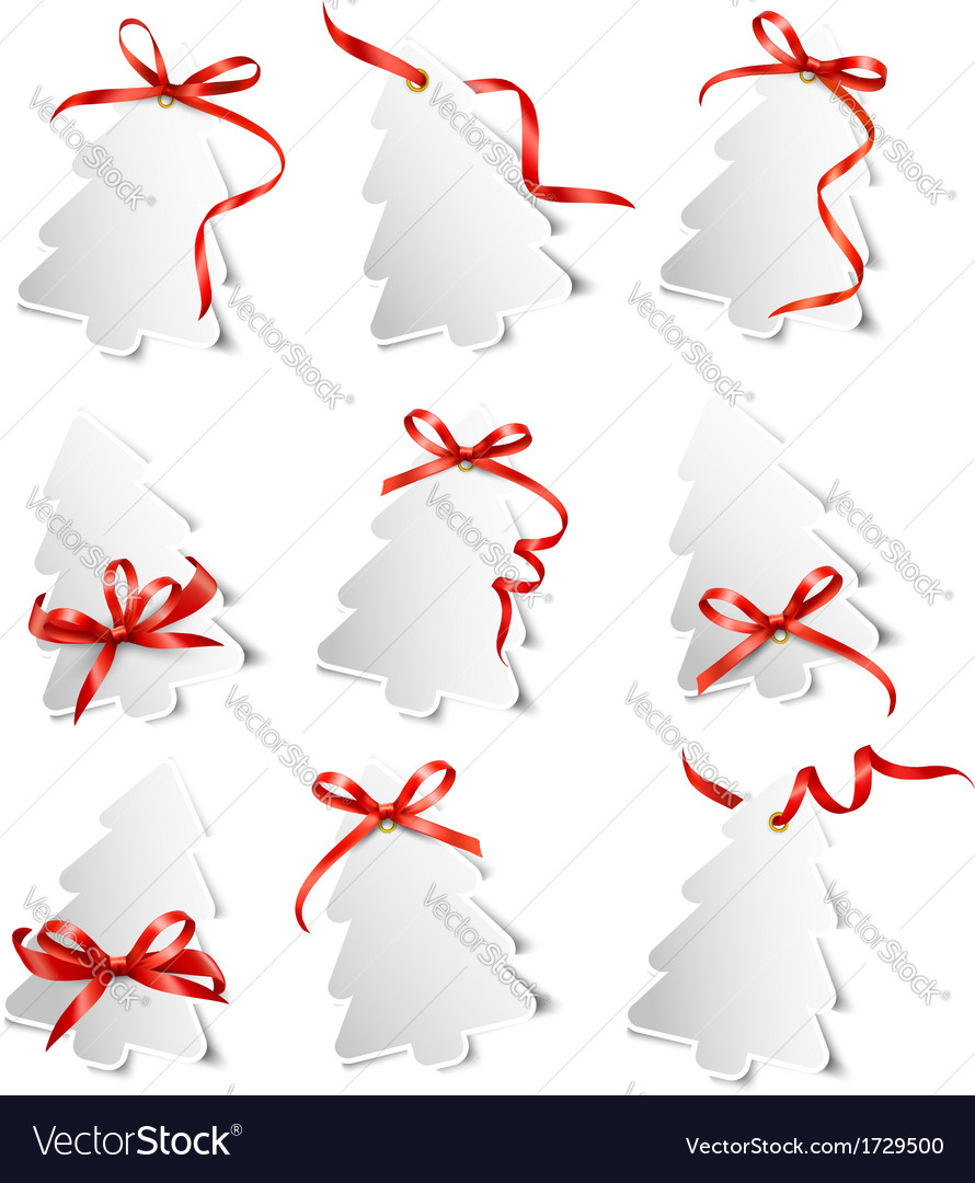 Set of beautiful gift cards with red gift bows vector   Price: 1 Credit (USD $1)