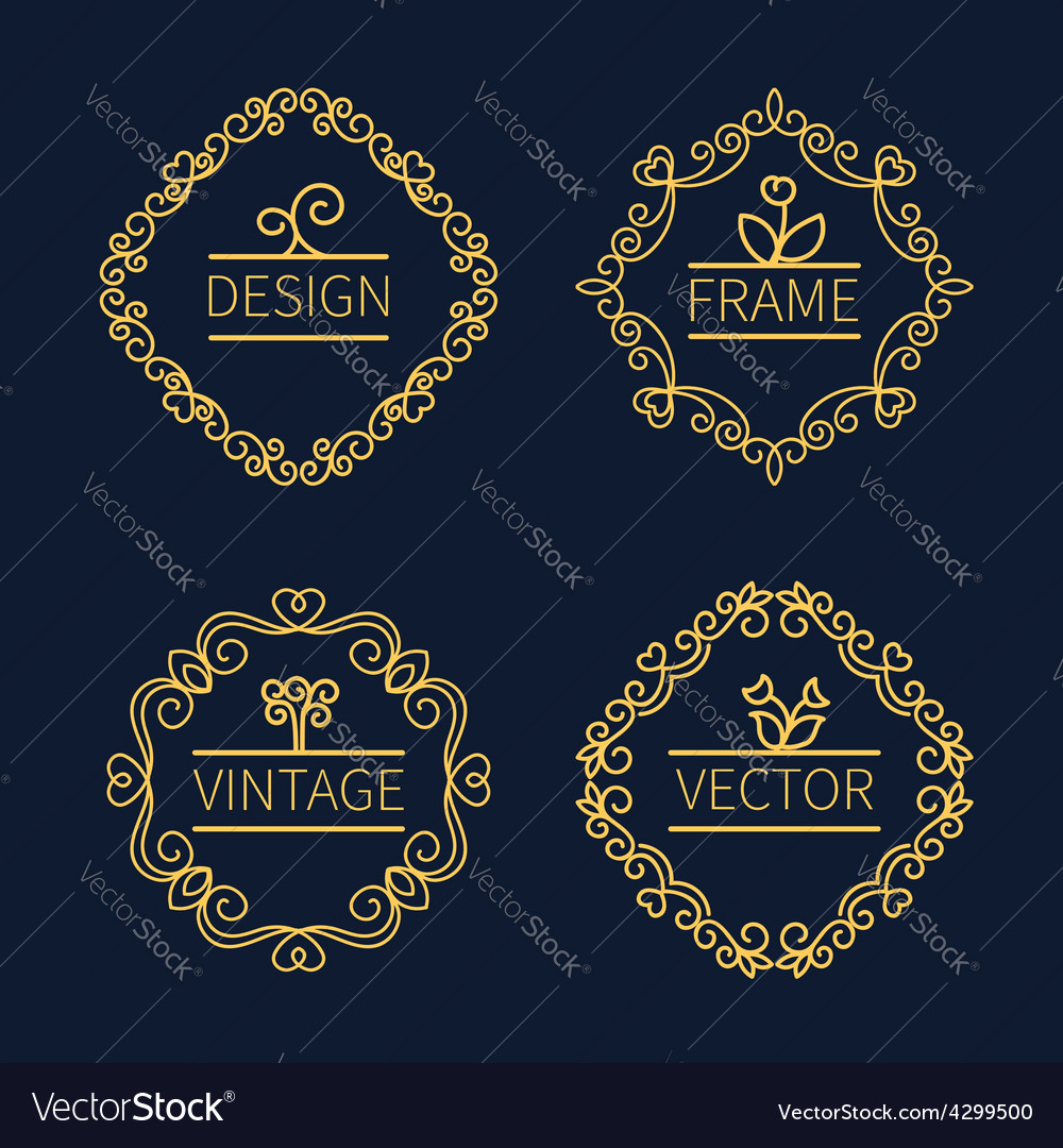 Set outline monograms frame vector | Price: 1 Credit (USD $1)