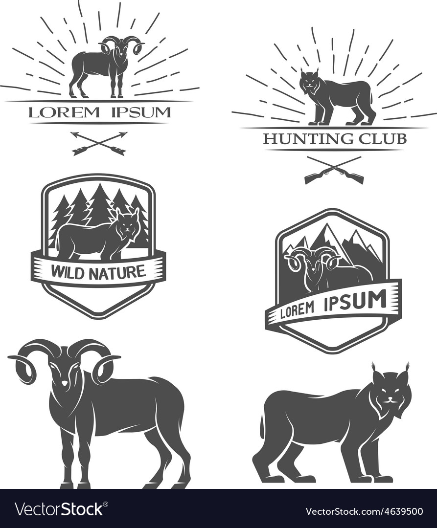 Sheep and lynx posters labels emblem vector | Price: 1 Credit (USD $1)