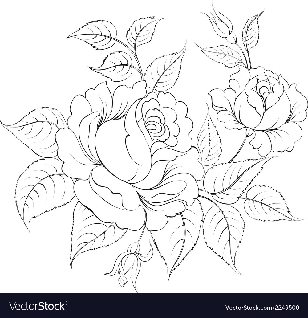 Single black rose ink painted vector | Price: 1 Credit (USD $1)
