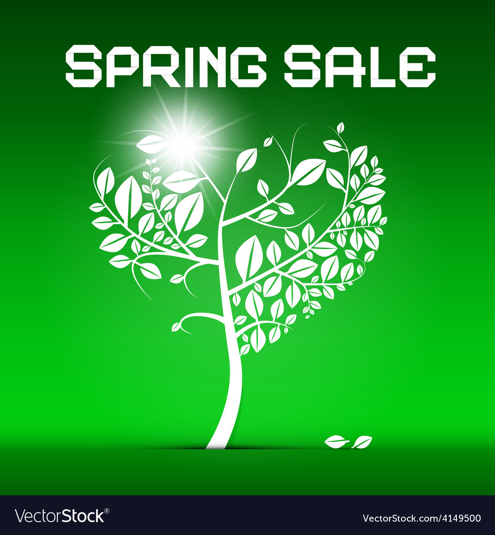 Spring sale green with heart shaped tree and vector | Price: 1 Credit (USD $1)