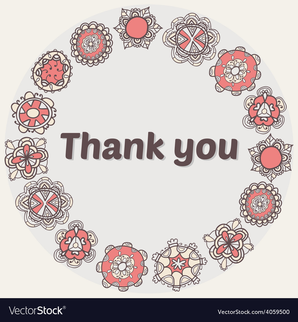 Thank you card with ethnic ornament stylish floral vector | Price: 1 Credit (USD $1)