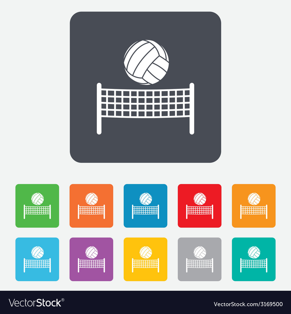 Volleyball net ball icon beach sport symbol vector | Price: 1 Credit (USD $1)