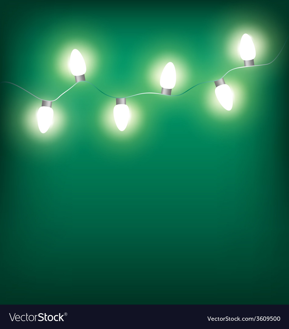 White led christmas lights garland on cyan vector | Price: 1 Credit (USD $1)