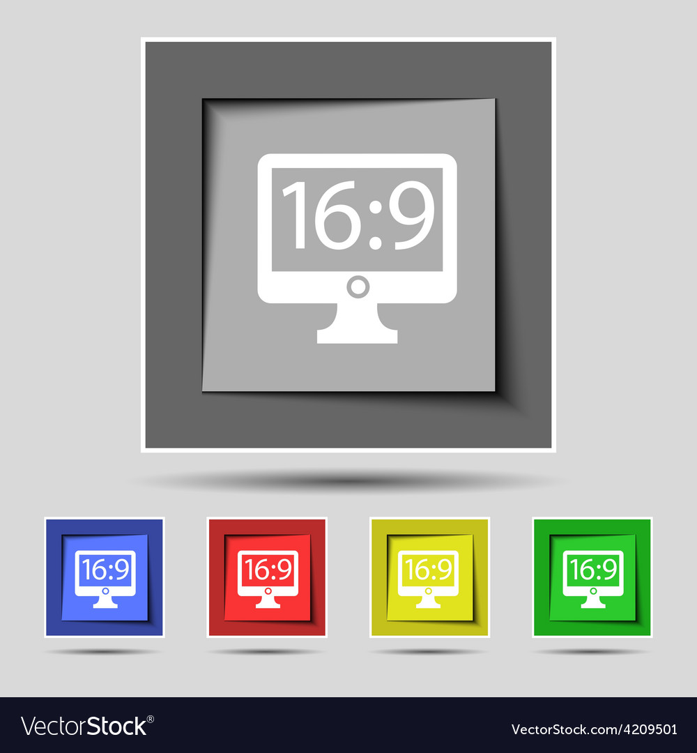 Aspect ratio 16 9 widescreen tv icon sign on the vector | Price: 1 Credit (USD $1)