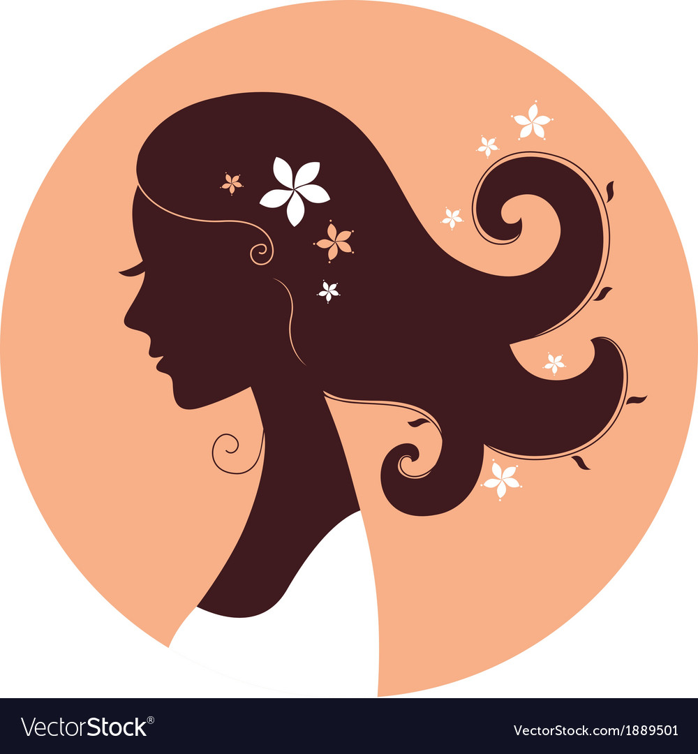 Beautiful spring girl silhouette in circle vector | Price: 1 Credit (USD $1)