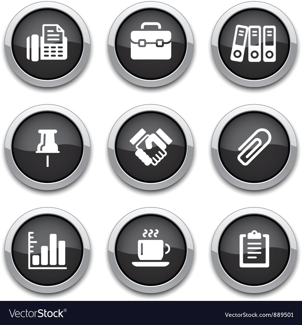 Black business office buttons vector | Price: 1 Credit (USD $1)