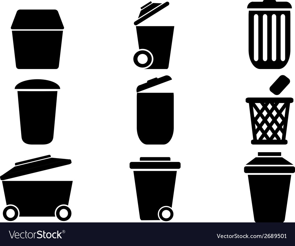 Black trash can icons vector | Price: 1 Credit (USD $1)