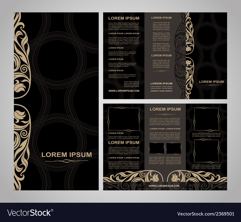 Brochure template vintage style black vector | Price: 1 Credit (USD $1)