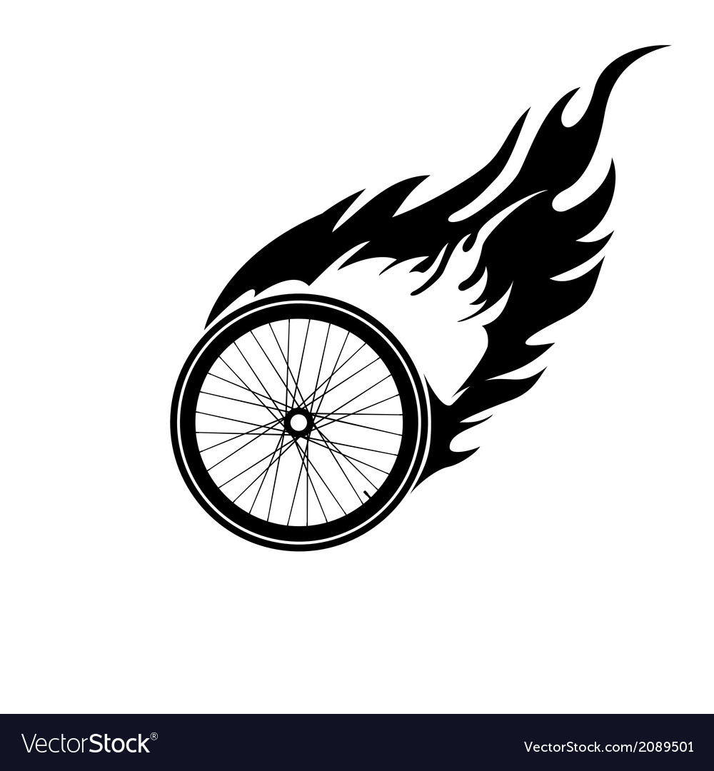 Burning symbol of a bicycle wheel vector | Price: 1 Credit (USD $1)