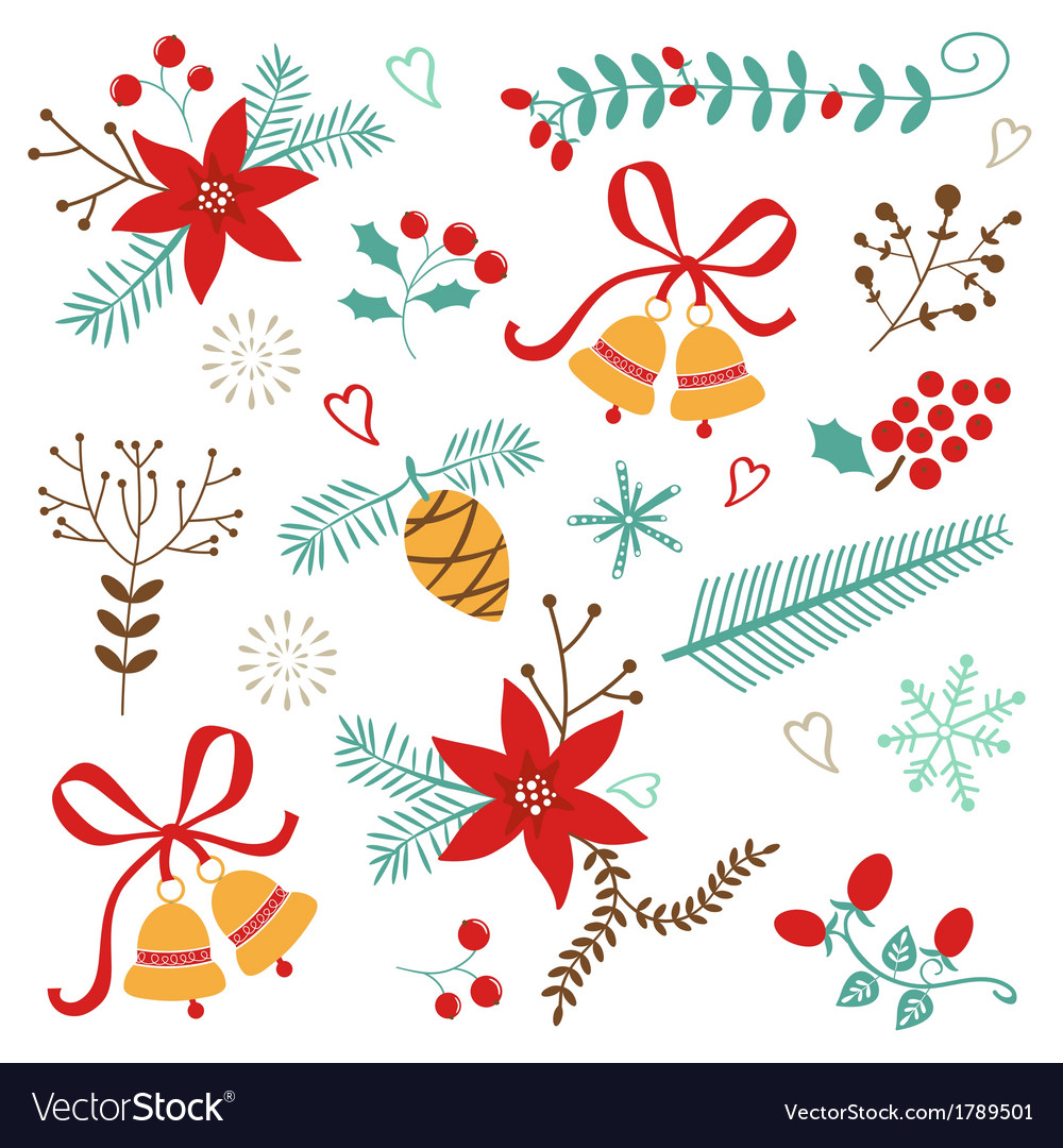 Christmas and new year decorative elements vector | Price: 1 Credit (USD $1)