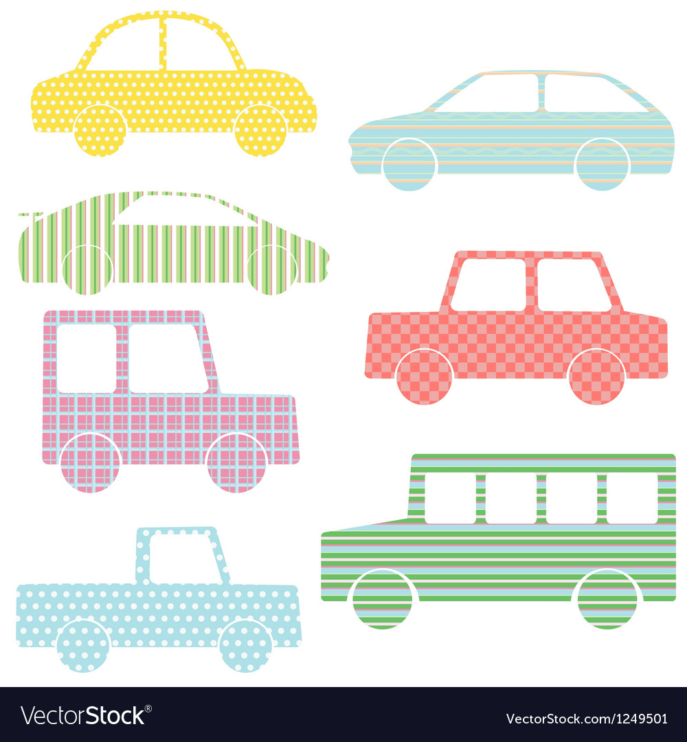Collection of car silhouettes with simple patterns vector   Price: 1 Credit (USD $1)