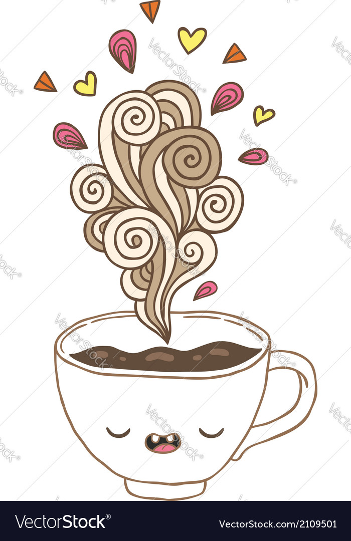 Cute cartoon coffee cup with doodle steam vector   Price: 1 Credit (USD $1)