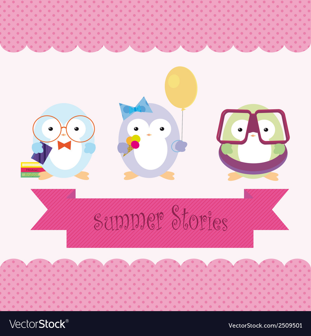 Cute cartoon penguins on summer vacation vector | Price: 1 Credit (USD $1)