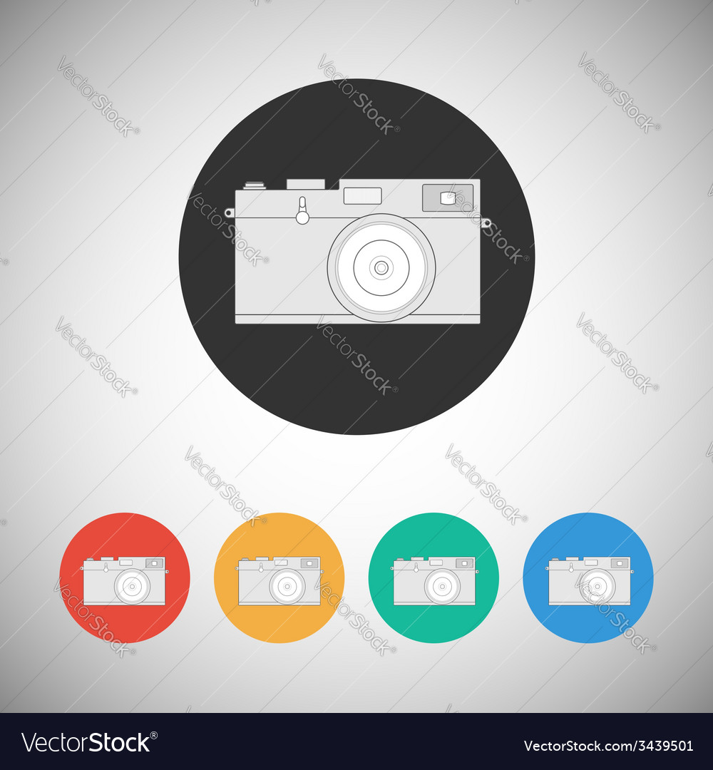 Film camera icon on round background vector   Price: 1 Credit (USD $1)