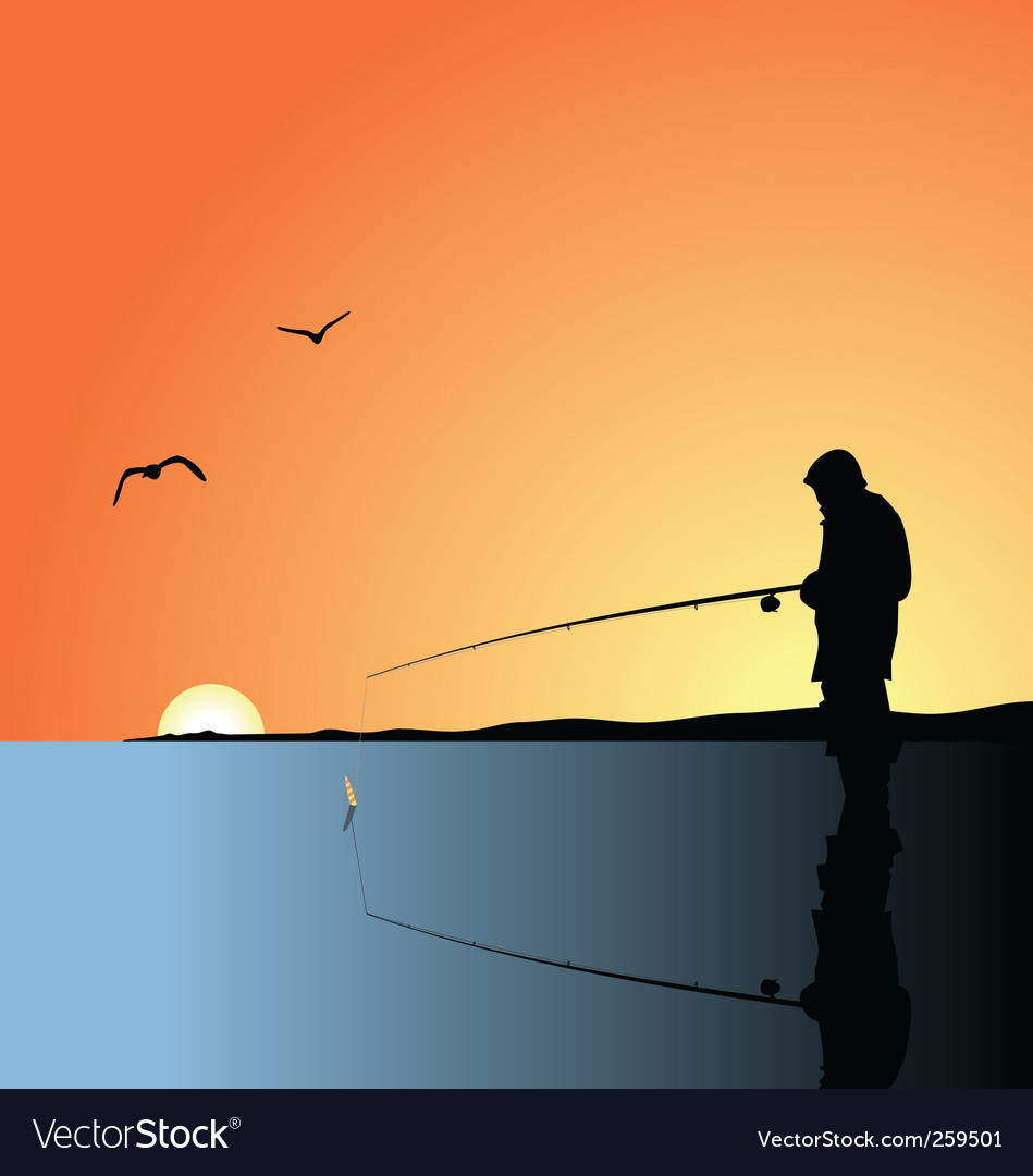 Fishing on lake vector | Price: 1 Credit (USD $1)